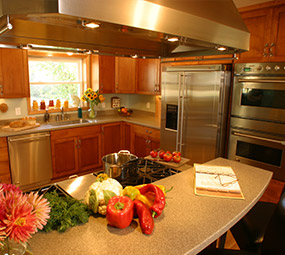 Kitchen with giant hood