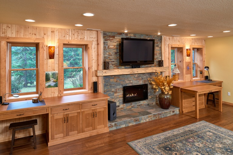 Lodge Inspired Basement Remodel Corvallis Oregon