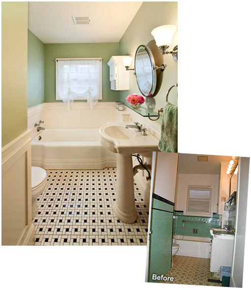 Small bathroom ideas powell construction for 1930 s bathroom decor