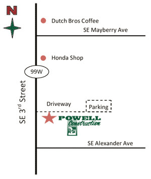 Map to Powell Construction in Corvallis, Oregon