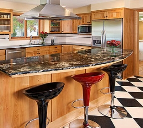 Kitchen with barstools