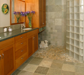Owen shower with glass block and camel #168