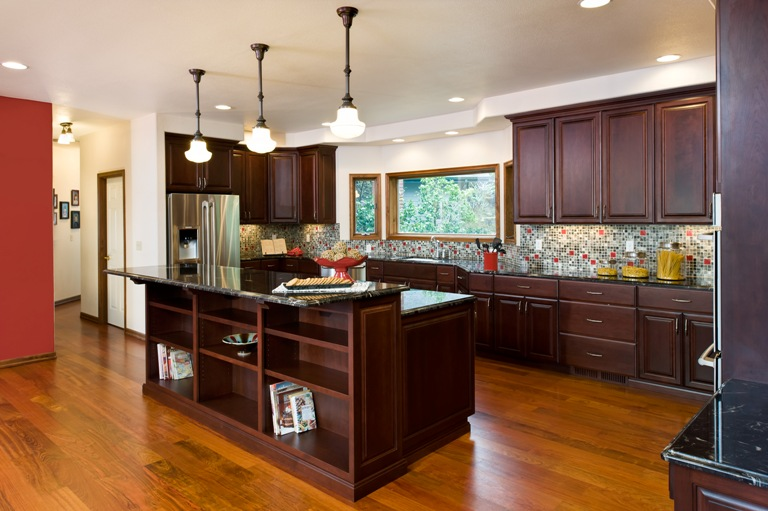 Kitchen addition with granite countertops, cherry cabinets and brazillian cherry floors