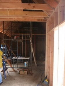 Interior framing.  At the far end will be the master bathroom and closet.