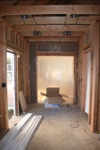 Looking from the master suite addition in to the existing study.