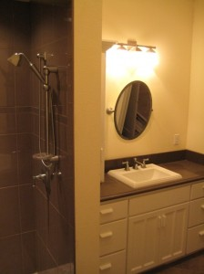 Tile Shower and Vanity