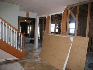 View of the demolished kitchen/laundry room from family room