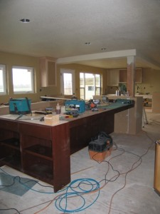 Sapele and paint-grade cabinets in kitchen
