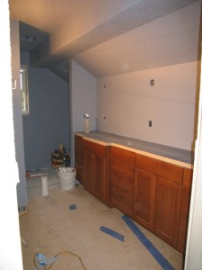 Alder cabinets in upstairs bath