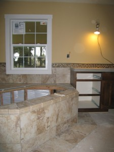 Master bath tile work