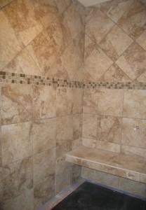Master bath shower bench