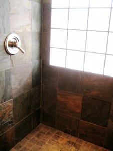 Tile in the shower.