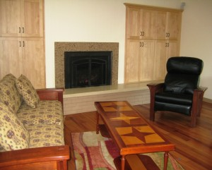 Completed Living Room with Built-Ins and Fireplace Surround
