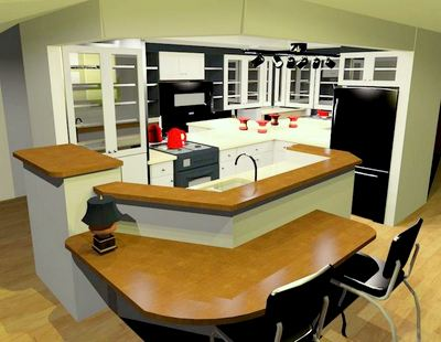 3-D design of kitchen