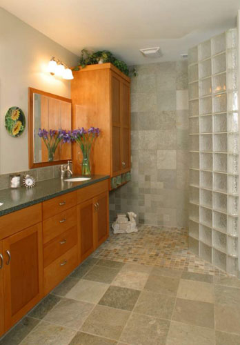 The home addition included this master bath with a glass block shower