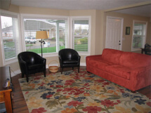 View of the living room in this daylight basement remodel.