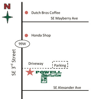 Map to Powell Construction Design Studio