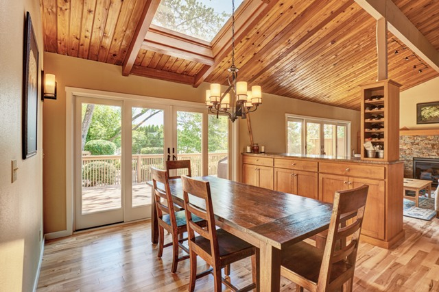 Andersen wood windows, skylights, and wood-paneled ceilings inspire a lodge style