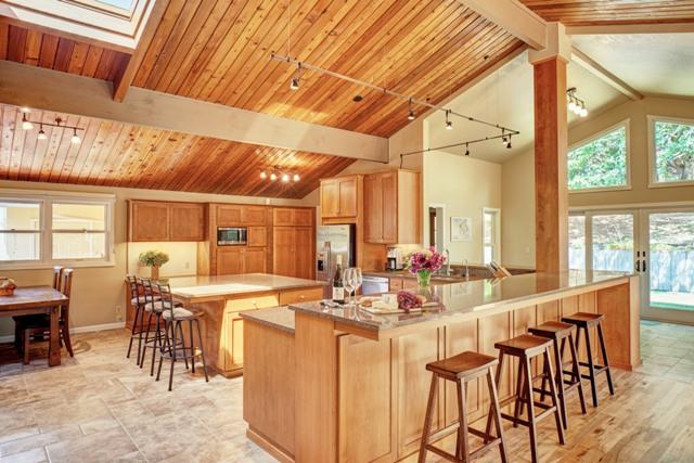 open concept floorplan of lodge inspired home