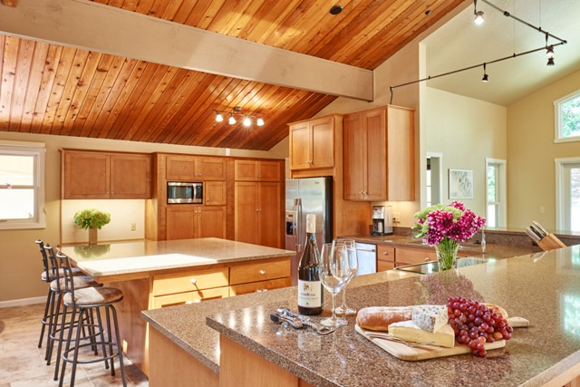 Eating bar replaced load bearing wall to visually open space