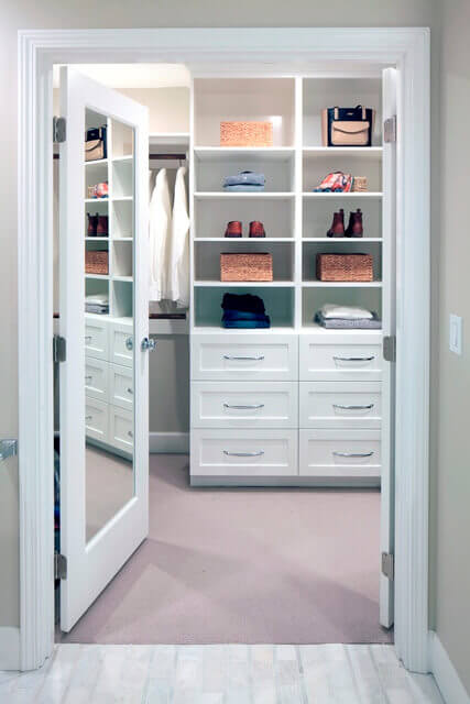 The new custom closet features plenty of built-in storage.