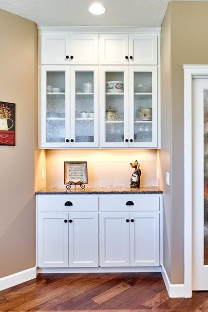 A built-in dining buffet provides additional storage.