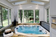 Hot tub addition expands a master bathroom