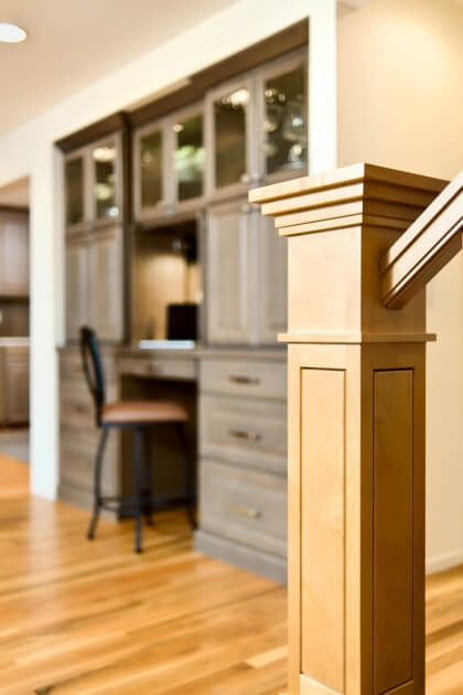 As general contractor, we coordinated the work of many skilled craftsmen. Note the fine detail on this newel post.