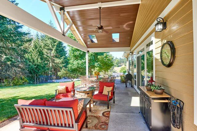 A large ceiling fan was installed to help the patio stay cool even on the warmest days.