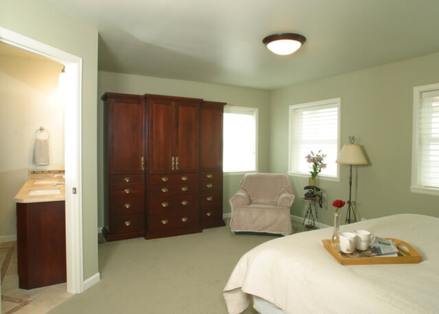 This addition enlarged the master suite, creating a comfortable private retreat.