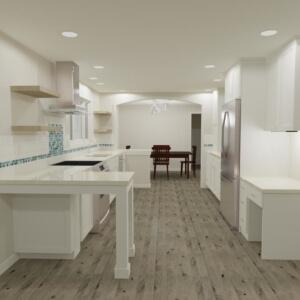 Kitchen remodel shown using 3-D home design software