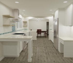 3-D design of a kitchen remodel by home remodeling contractor Powell Construction.