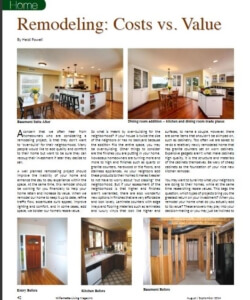 Article on Remodeling: Costs vs. Value | Willamette Living Magazine Aug/Sept 2014