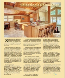 Selecting a Remodeler for your home remodeling project | Willamette Living Magazine Oct/Nov 2015
