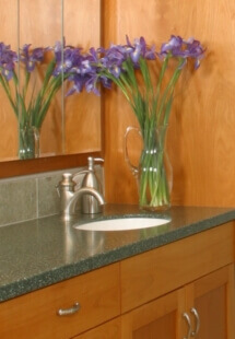 The new vanity features two sinks and plenty of counter space.