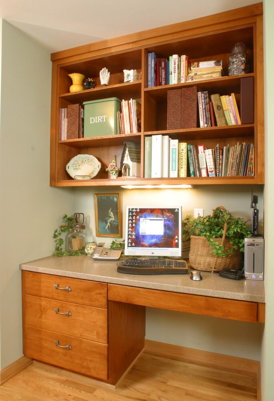 This handy kitchen desk serves as a modern home communication center.