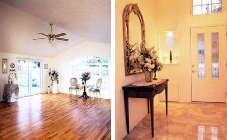 Interior remodel details include a marble entry, display niches, and hardwood floors.