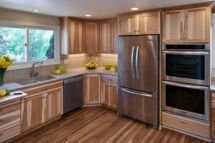 This distinctive kitchen remodel reflects the clients' love of hickory.