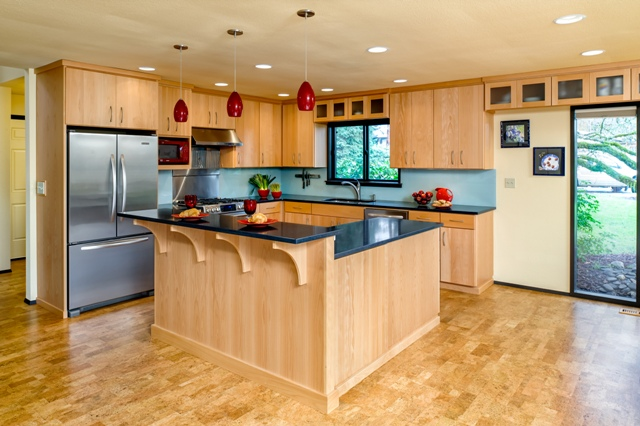 This kitchen renovation removed two interior walls, opening up the space.