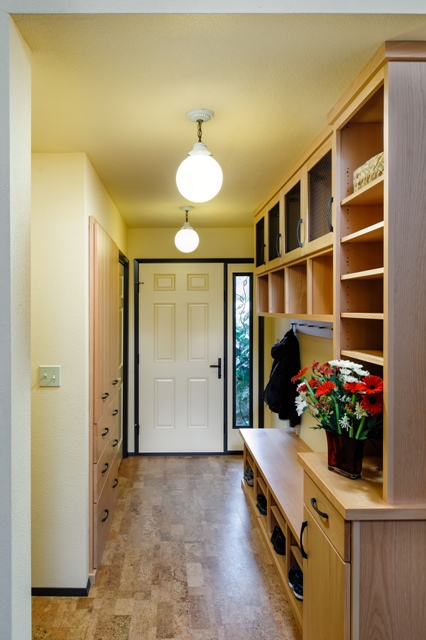 This home is filled with innovative remodeling ideas, such as this back entry with lots of built-in storage.