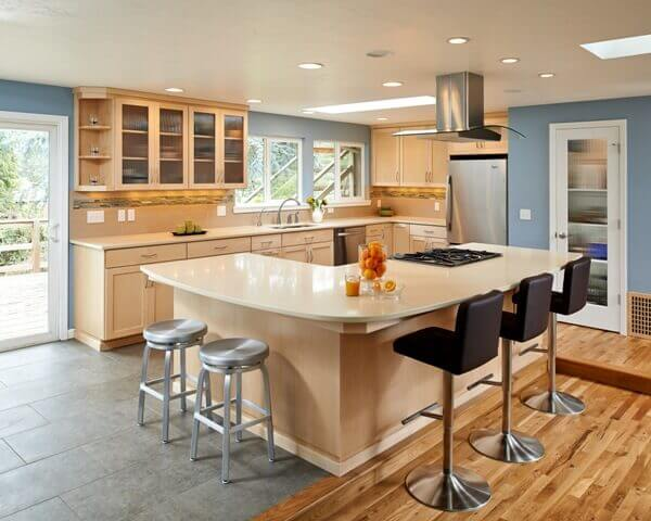 The remodeled kitchen provided room for a generous island.