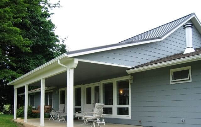 A new porch cover was built over a patio.