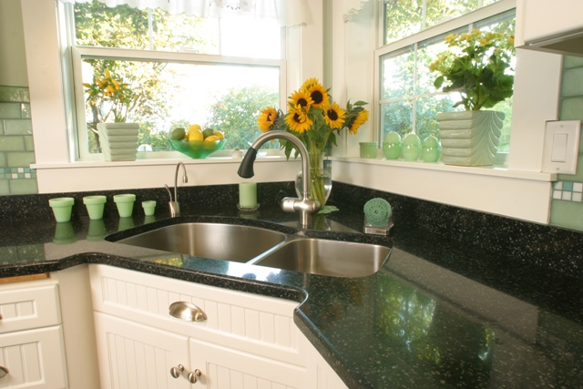 A kitchen design idea the clients loved is a corner sink with two windows for lots of natural light.