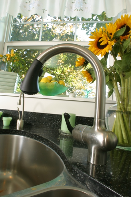 The stainless steel undermount sink is easy to clean and will look great for decades.