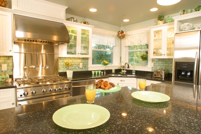 This kitchen addition provided ample space for cooking and entertaining.
