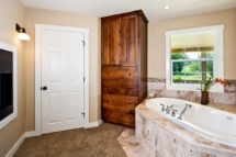 The master bathroom with a jetted soaking tub and see-through fireplace.