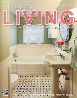 Willamette Living Magazine featuring Powell Construction small bathroom remodel on the cover.
