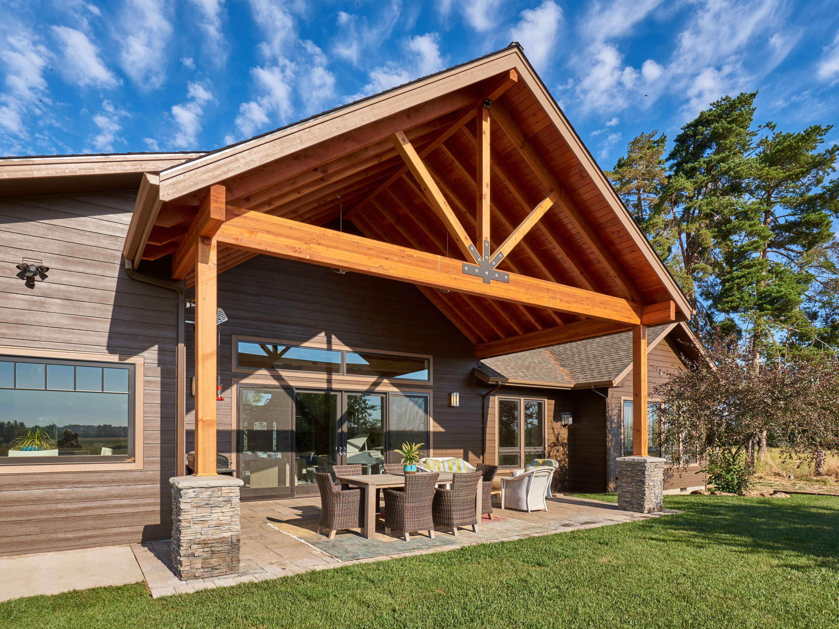 covered patio with timber beams