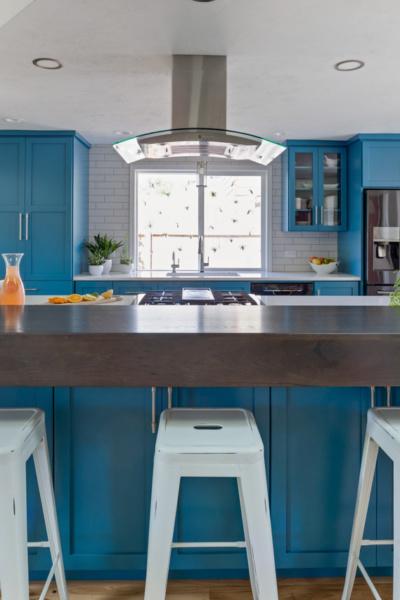 Vibrant Blue Kitchen: After