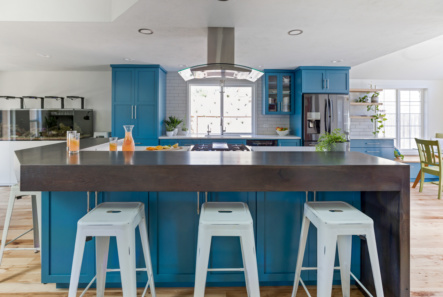blue cabinets in kitchen with island and stools